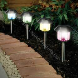 garden lights solar powered 12 x colour changing solar power light led post outdoor