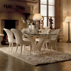 exclusive italian pedestal large glass dining table set