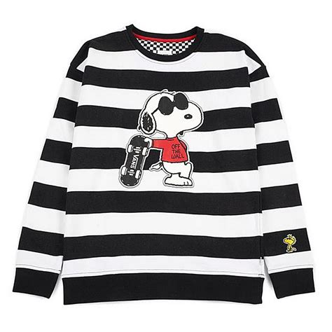 Sweter Vans 1 vans sweater peanuts snoopy skating joe cool crew white black lemonurban