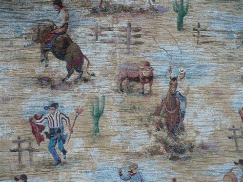 cowboy upholstery fabric tapestry cowboy fabric from looluus on ruby lane
