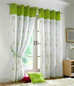 Curtains With Green Tahiti Embroidered Voile Fully Lined Eyelet Curtains Lime Green White Ready Made Curtains