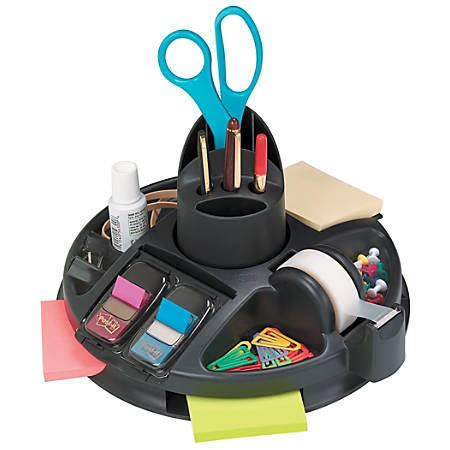 office max desk organizer post it rotary desktop organizer black by office depot