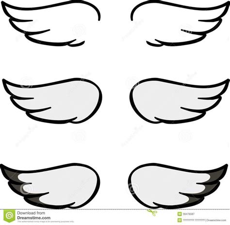 Simple Wing Outline by Set Wings Vector Illustration Bird Wing Vector Illustration White Background 39476587