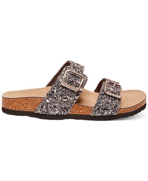 glitter sandals lyst madden brando glitter faux leather sandals in
