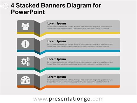 4 stacked banners for powerpoint presentationgo com