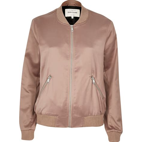 Ladies Bench Jackets River Island Pink Satin Bomber Jacket In Pink Lyst
