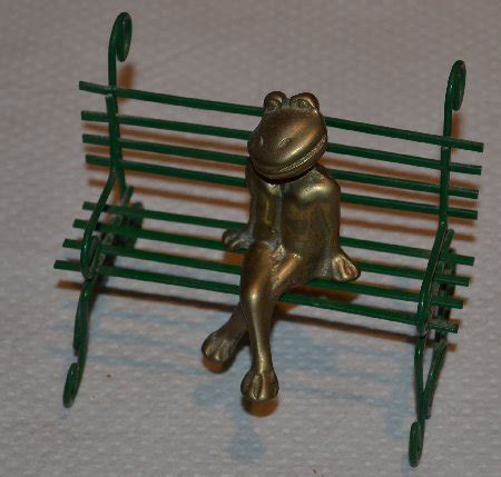 Frog Collection Bronze Frog On Bench