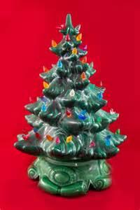 vintage tabletop ceramic christmas tree green ceramic