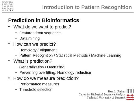 definition de pattern recognition introduction to pattern recognition prediction in