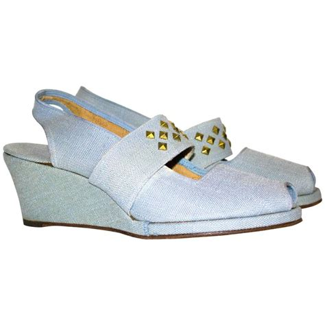 40s light blue canvas wedges for sale at 1stdibs
