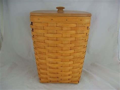 longaberger 1986 small waste basket her w lid darker longaberger 2000 small waste basket w protector lid
