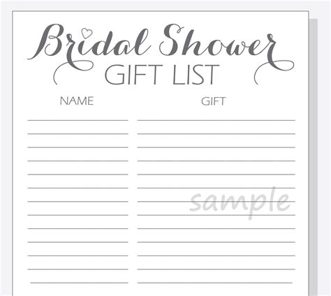 printable bridal shower list diy bridal shower gift list printable calligraphy script