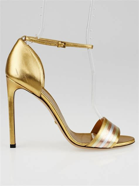 metallic gold high heels gucci gold metallic leather cara high heel sandals size 8