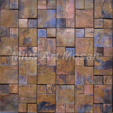 sle copper metal pattern textured glass mosaic tile china copper metal mosaic tile with antique bronze finish