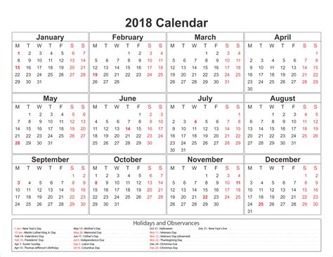 Calendar With Holidays For 2018 Printable Calendar 2018 Printable Calendar Templates