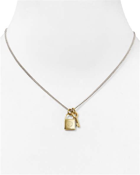 Key Necklace lyst marc by marc lock key pendant necklace 17 quot in metallic