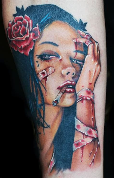 tattoo girl color viveros pinup girl color tattoo by diego tattoonow