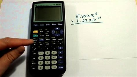 calculator negative entering scientific notation on a ti 83 or ti 84