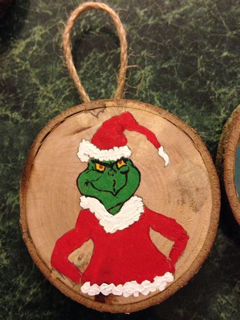 grinch wood slice ornament hand painted wood slice