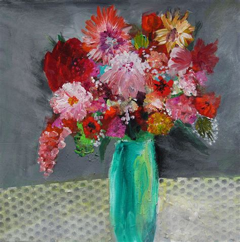Paintings Of Flowers In A Vase by Flowers In A Green Vase Painting By Marilyn Woods