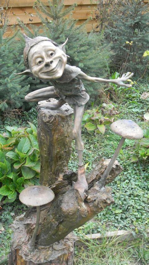 outdoor pixie elves bronze garden sculpture by artist chichinadze titled flyer bronze gnome and