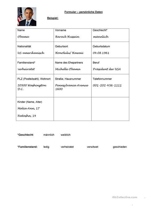 Pers Nlicher Brief Beispiel pers 246 nliche daten steckbrief arbeitsblatt kostenlose