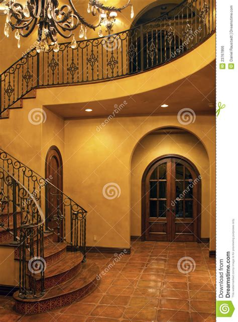 Mansion Home Interior Front Stairway Entrance Royalty Free