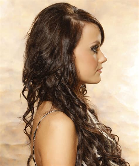 side profile of hairstyles long curly formal hairstyle mocha