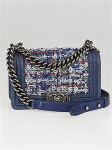 chanel blue denim  tweed small boy bag yoogis closet