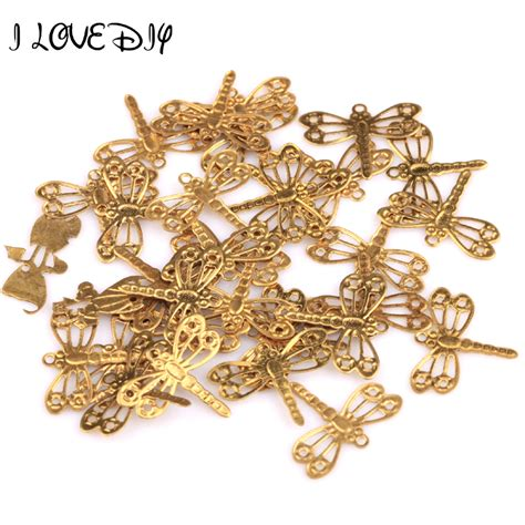 wholesale 100pcs gold plated dragonfly charms pendants