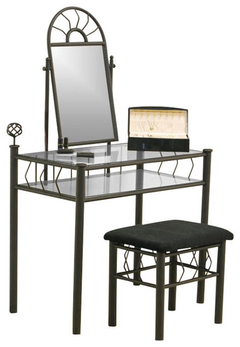 Wrought Iron Bedroom Vanity by Coaster Wrought Iron Frosted Makeup Vanity Table Set W