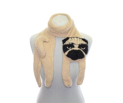 pug scarf knitted pug scarf fuzzy soft scarf scarf knit by taniash