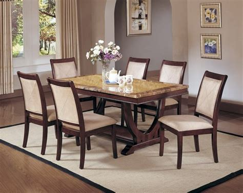 deco marble top formal dining room table set chairs
