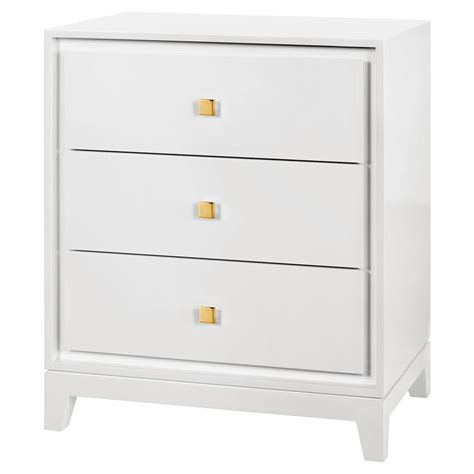 White And Gold Nightstand Walt Modern Classic Gold White Lacquered Nightstand Kathy Kuo Home