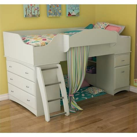 south shore imagine twin loft bed in pure white 3560a3
