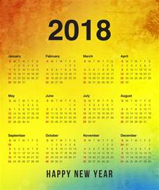 Calendar 2018 Year Happy New Year 2018 Calendar New Year Pocket