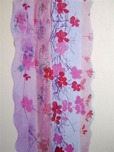 red pink purple climbing flower wall feature decor wall