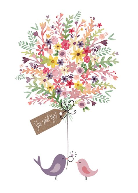 Engagement Flower Bouquet by Greeting Cards Congratulations Cards Felicity
