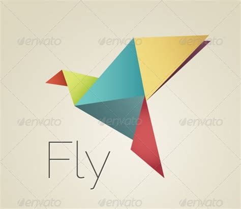 Origami Bird Logo - colorful origami bird origami birds fonts and logo