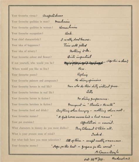 printable proust questionnaire arthur conan doyle fills out the questionnaire made famous