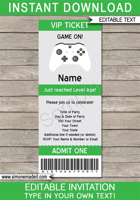 free printable xbox birthday invitations xbox party ticket invitation template video game theme