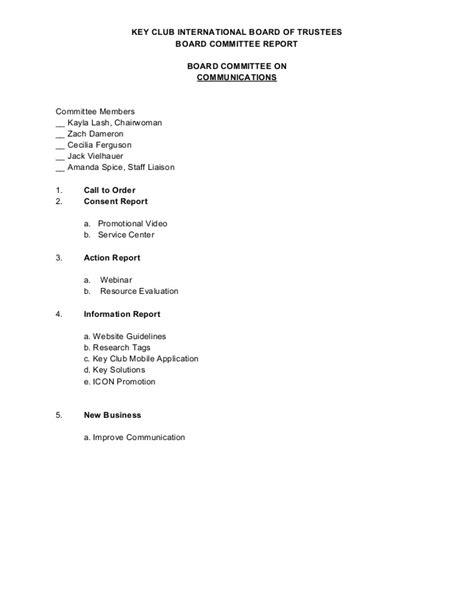 board of trustees report template sle agenda