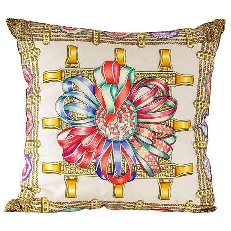 Hermes Pillows For Sale by Hermes Pillow Silk Scarf Print Les Rubans Du Cheval