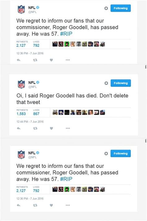 Report Account Hacked by Roger Goodell Nfl Account Hacked And Falsely Reports Commissioner S Dubai Mazad