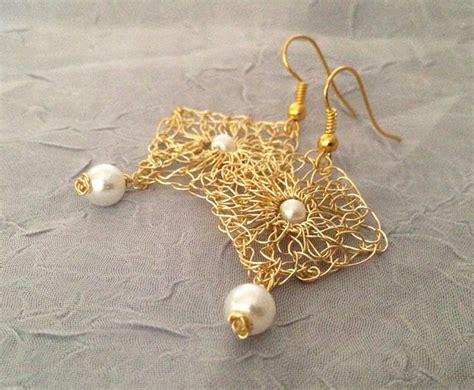 handmade wire crochet earrings gold wire earrings drop by