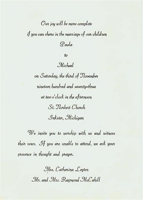 Creative Wedding Invitation Letter Pre Wedding Invitation Letter Sle Mini Bridal