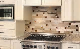 Kitchen With Mosaic Backsplash by Brown Glass Travertine Backsplash Tile Backsplash Com