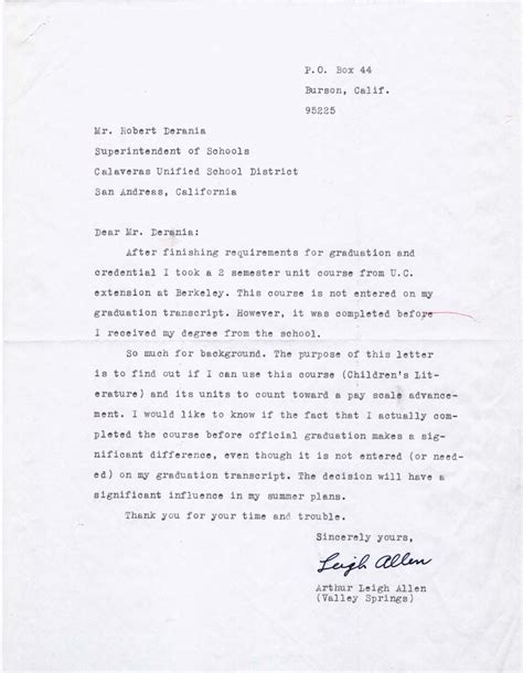 Evaluation Letter For School Arthur Leigh Allen S 1966 1968 Personnel File