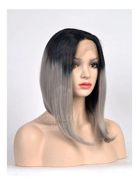 gray shoulder length bob black to gray shoulder length bob style lace front wig