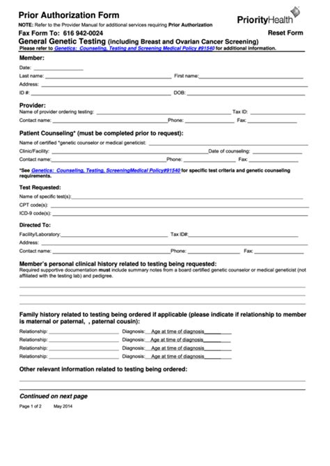 Fillable Prior Authorization Form Priority Health Printable Pdf Download Prior Authorization Form Template
